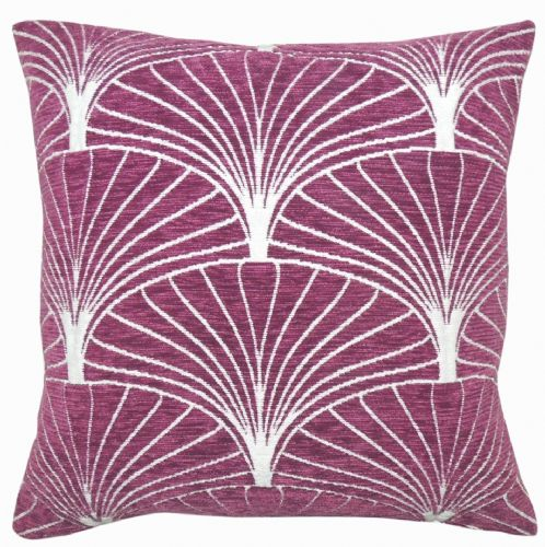 LUXURY SOFT CHENILLE GEOMETRIC SCATTER  FILLED CUSHION MAUVE COLOUR
